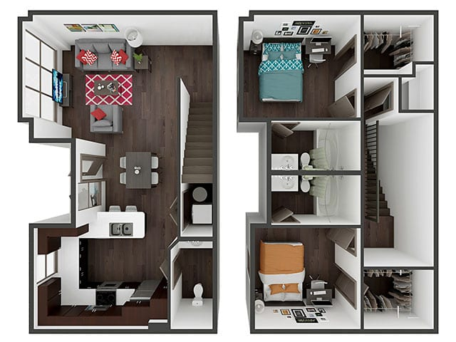 B3 Townhome Floor plan layout
